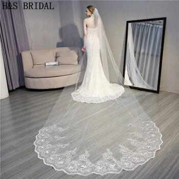 16b501851924d8d H & S вуаль для невесты 4 м длинная прямоугольная скатерть с цветами Вуаль  Тюль Элегантные вуали аксессуары для свадьбы свадебный вуаль velo de .