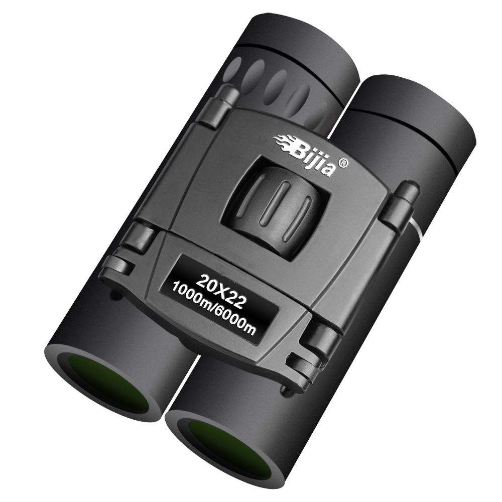 BIJIA HD 20x22 Binoculars Professional Hunting Mini Folding Pocket Telescope BAK4 FMC Optics High Quality Vision Outdoor Gifts