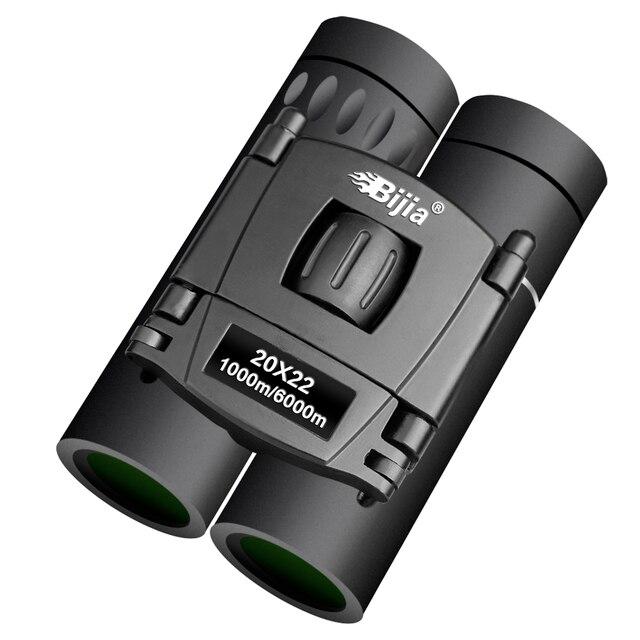 BIJIA HD 20x22 Binoculars Professional Hunting Mini Folding Pocket Telescope BAK4 FMC Optics High Quality Vision Outdoor Gifts