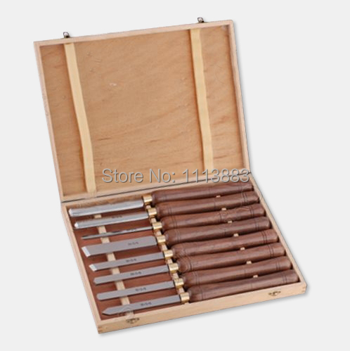 8PCS 415mm Wooden Turning Tools SET H S S Blade American Walnut Handle in Wooden Box