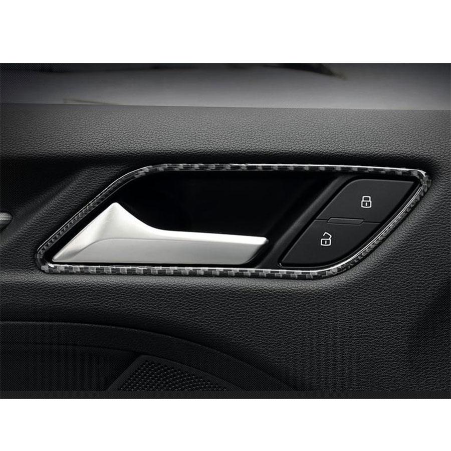 4pcs Set Carbon Fiber Interior Trim Door Handle Decoration For Audi A3 S3 2014up Lhd In Car