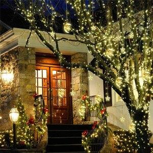 Image 3 - 4.5 M 138 LED מנורת חג המולד אורות ירח כוכבים מחרוזת אור וילון חלון קישוט אורות לחדר שינה בית מסיבת חתונה מקורה