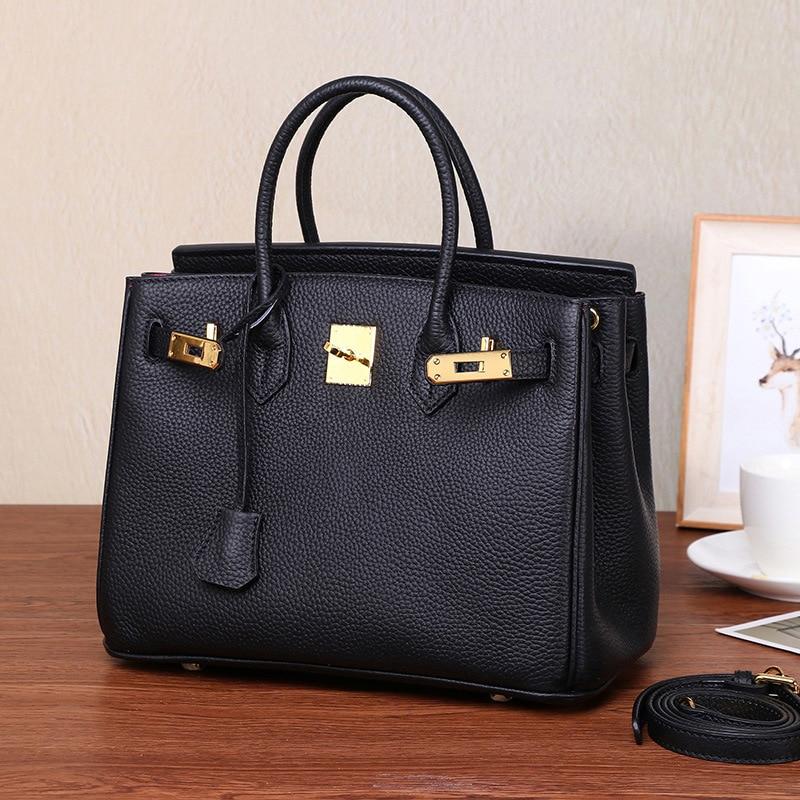 Classique sac platine Pour Les Femmes De Luxe qualité supérieure Top Couche Véritable dessus cuir-Poignée Sac Élégance sac à bandoulière