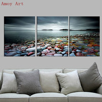 Sea Sunset Colorful Stones Wall Painting Canvas Painting Home Decoration Pictures Wall Pictures For Living Room