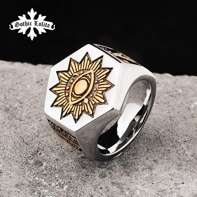The Sun Devil Eyes hexagon Masonic Ring For Men Stainless steel Freemason Totem Jewelry цены