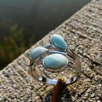 Natürliche Larimar Ringe Antiken Designs Oval Larimar Frauen Ringe 925 Sterling Silber Schmuck Larimar Hochzeit Ringe Größe 6/7 /8/9