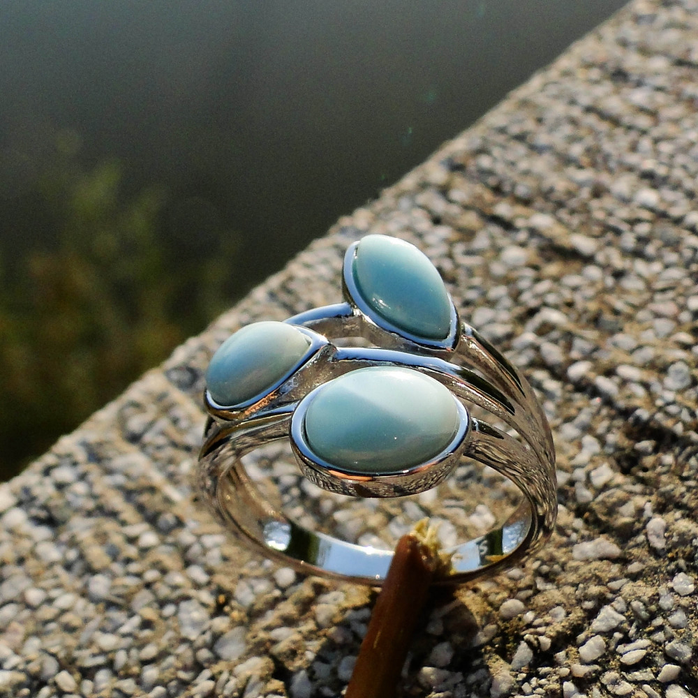 Natural Larimar Rings Antique Designs Oval Larimar Women Rings 925 Sterling Silver Jewelry Larimar Wedding Rings Size 6/7/8/9