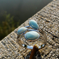 Natural Larimar Rings Antique Designs Oval Larimar Women Rings 925 Sterling Silver Jewelry Larimar Wedding Rings Size 6/7/8/9