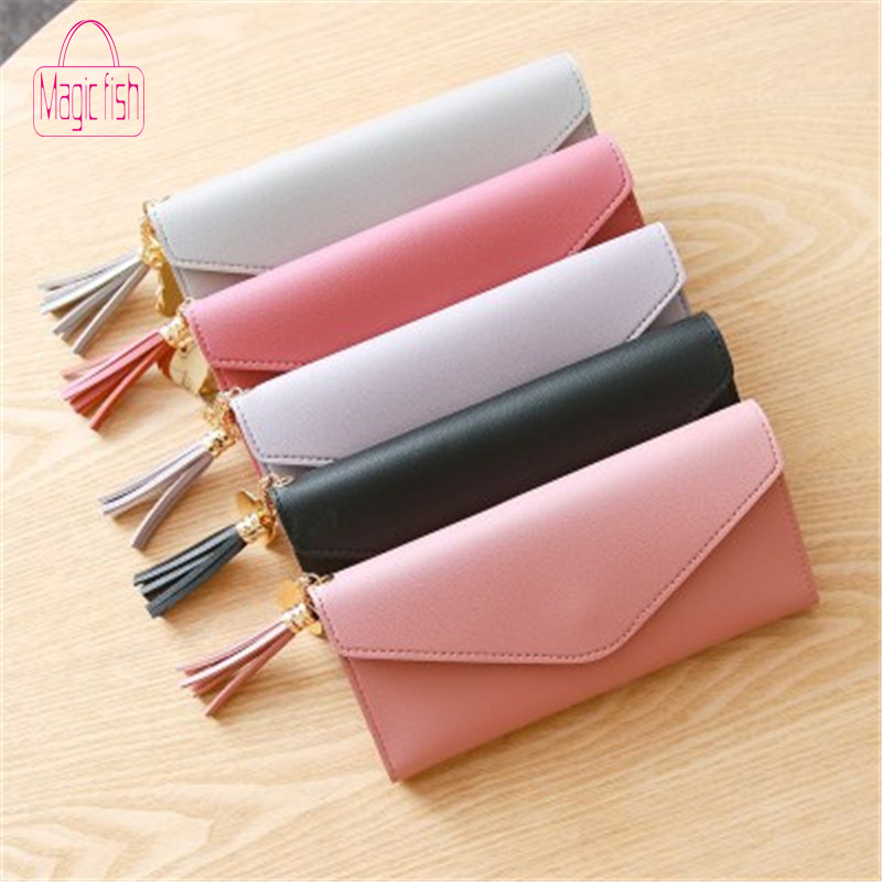 Magic Fish Long Wallet Women Purses Tassel Fashion Coin Purse Card Wallet Female High Quality Clutch Money Bag PU Leather Wallet