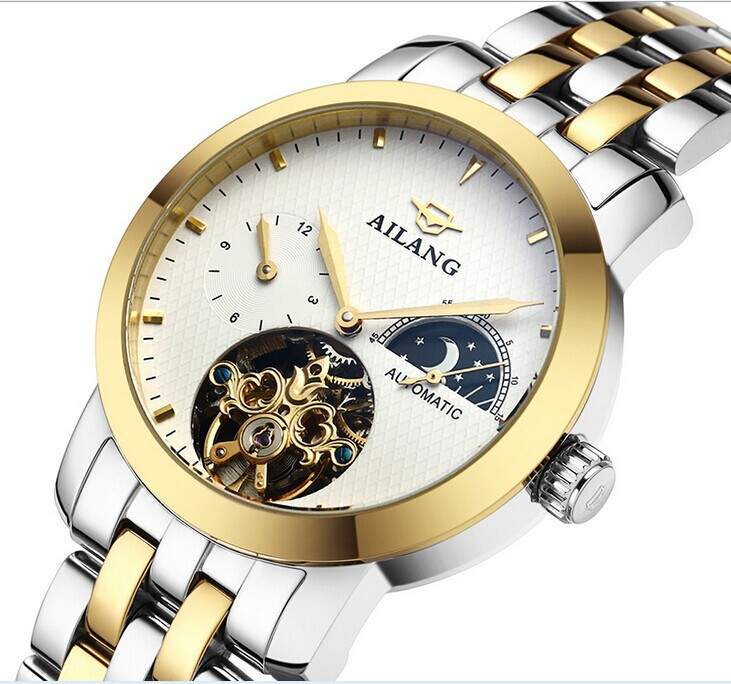 Men AILANG Luxury Gold Plated Full Steel Watches Tourbillon Automatic Dress Wrist watch Moon Phase 4 Hands Analog 3ATM NW3295 brand ailang men luxury gold plated business dress watches stainless steel calendar wrist watch auto self wind reloj 3atm nw3317