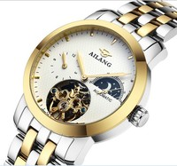 Men Brand Luxury Gold Plated Full Steel Watches Tourbillon Automatic Clock Saphir Moon Phase Timepiece 4