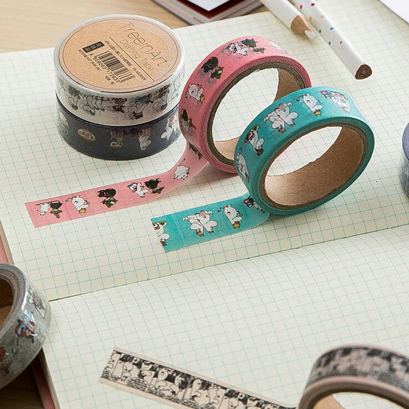 8 pcs Cartoon characters paper washi tape 15mm masking tape Deco ...