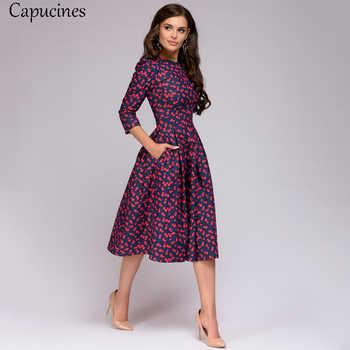 Capucines Elegant Pockets Print A-line Dress Autumn 2019 Women 3/4 Sleeves O-neck Casual Dress for Women Vintage Party Dresses