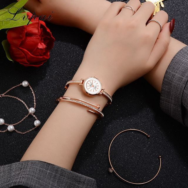 Stainless Steel Bracelet Watches Ladies Quartz Dress Watches Lvpai New Fashion Rhinestone Watches Women Luxury Brand reloj mujer