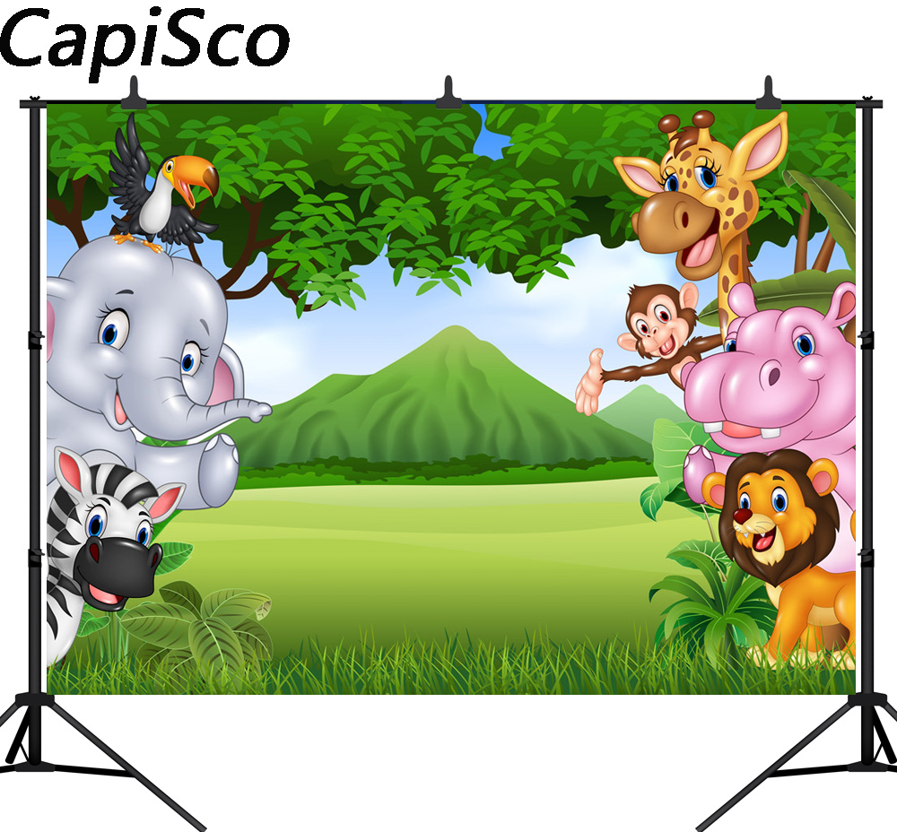 Capisco Fun Jungle animals backdrop Photogrpahy backdrops Photo background Baby birthday banner Dessert table decoration wall