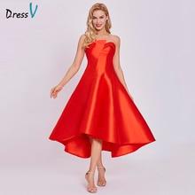Dressv платье для выпускного вечера, недорогое красное ТРАПЕЦИЕВИДНОЕ коктейльное платье длиной до щиколотки, жемчужно-розовое платье без бретелек на молнии для выпускного вечера