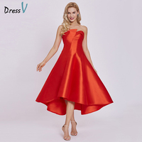Dressv Homecoming Dress Cheap Red A Line Ankel Length Cocktail Party Dress Pearl Pink Strapless Zipper