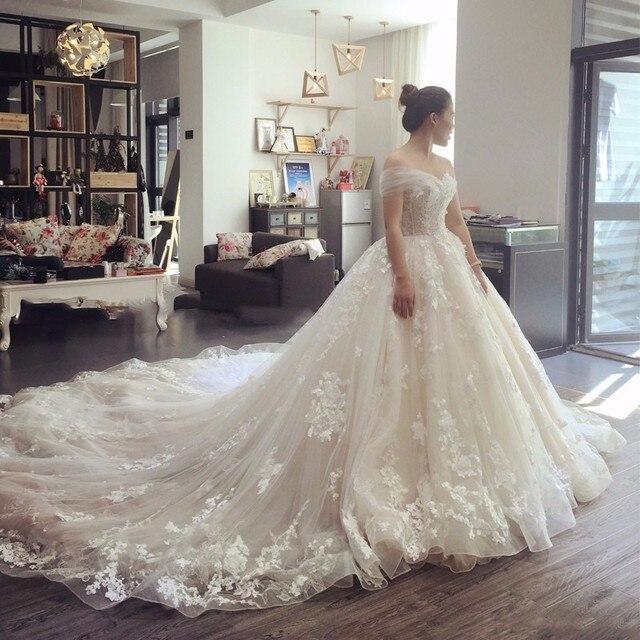 Свадебное платье кружева аппликация бальное платье vestido де noiva 2017 длинный халат де mariage vestido де noiva принцеса luxo trouwjurk