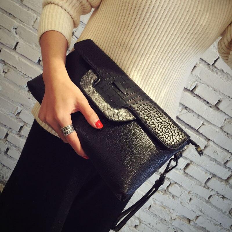 купить Trendy Women's Genuine Leather Snake Print Day Clutchs Casual Purse Wallet Evening Party Chains Messenger Bag Shoulder Bag по цене 2795.38 рублей