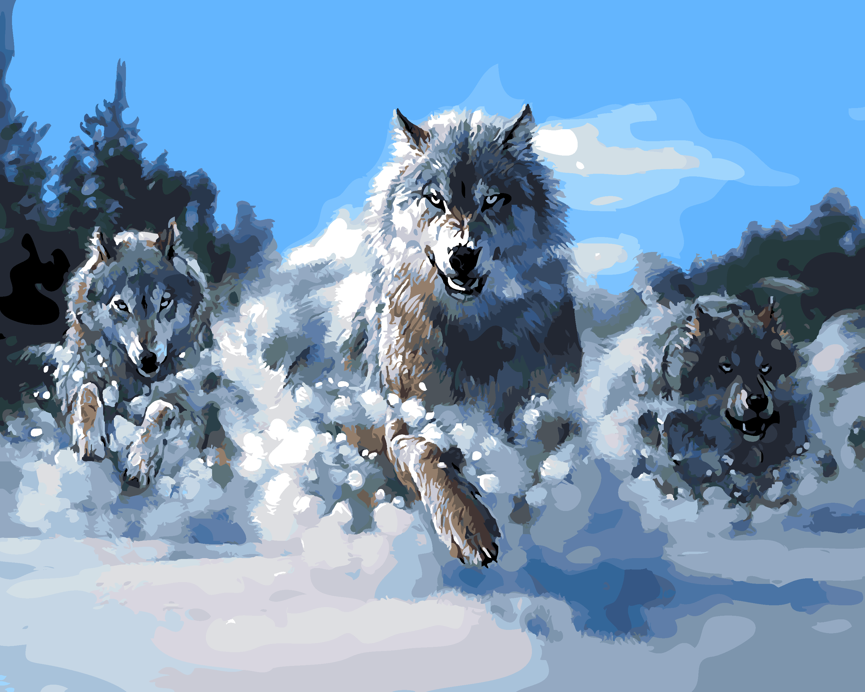 Online coloring wolves - Diy Oil Painting By Numbers Canvas Snow Wolf Picture Coloring Paint Acrylic Painting Calligraphy By Number
