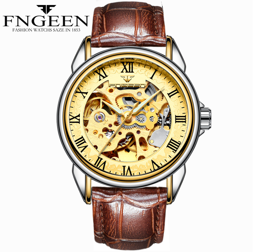 FNGEEN Relogio Golden Automatic Mens Watch Skeleton Bracelet Genuine Leather Strap Classic Watch Self-Winding Mechanical hot auto mechanical self winding leather strap automatic silver mens watch black