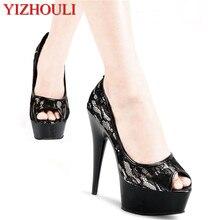 Обувь для банкета и фотосъемки на каблуке 15 см; обувь для ночного клуба на очень высоком каблуке; красивая и водонепроницаемая обувь на платформе для танцев принцессы высокого класса