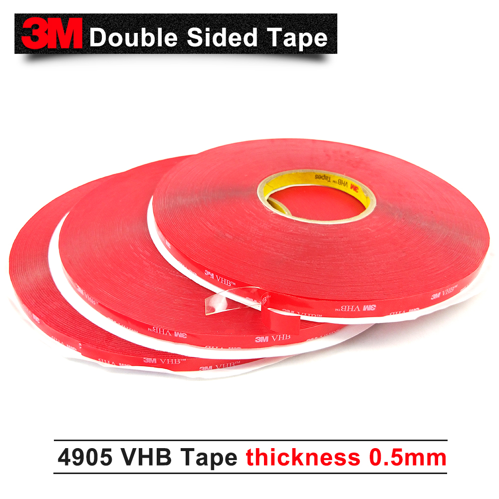 10MM*33M/5Rolls High Quality 3M 4905 double sided acrylic adhesive clear VHB tape 0.5mm thick 1piece 3m vhb 5952 heavy duty double sided adhesive acrylic foam tape black 150mmx100mmx1 1mm