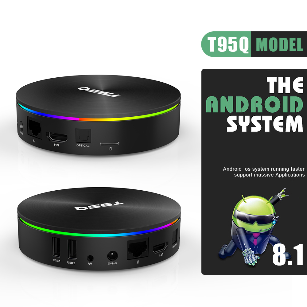 T95Q Android 8,1 Tv Box 4 GB 32 GB Amlogic S905X2 Quad Core 2,4/5,8G Wifi BT4.1 1000 M 4 K reproductor de medios 4GB64GB Android caja de tv inteligente - 4