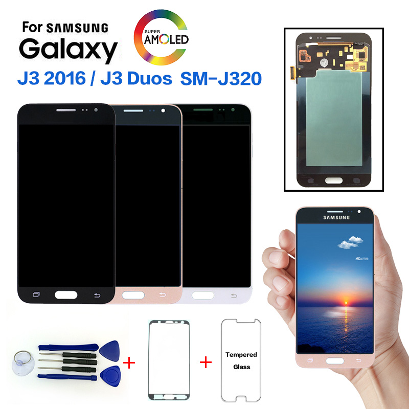 Super Amoled LCD Screen For SAMSUNG Galaxy J3 2016 J320F LCD Display Touch Screen Digitizer Assembly with Tapes+Glass protectorSuper Amoled LCD Screen For SAMSUNG Galaxy J3 2016 J320F LCD Display Touch Screen Digitizer Assembly with Tapes+Glass protector