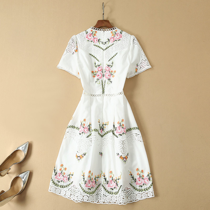 Image 2 - hollow out embroidery flower dress plus size clothing new fashion
