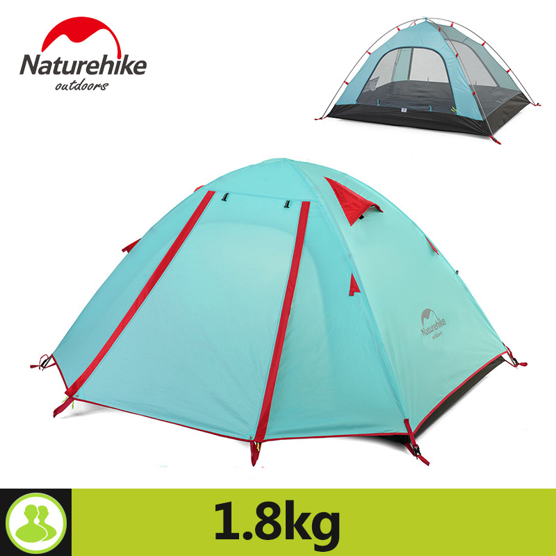 NatureHike 2 Person Tent Double Layer 5 Colors Outdoor Camping Hiking Hike Travel Play Tent Aluminum Pole Wind Rope Pegs aluminum alloy pegs for outdoor camping tent silver 5 pcs