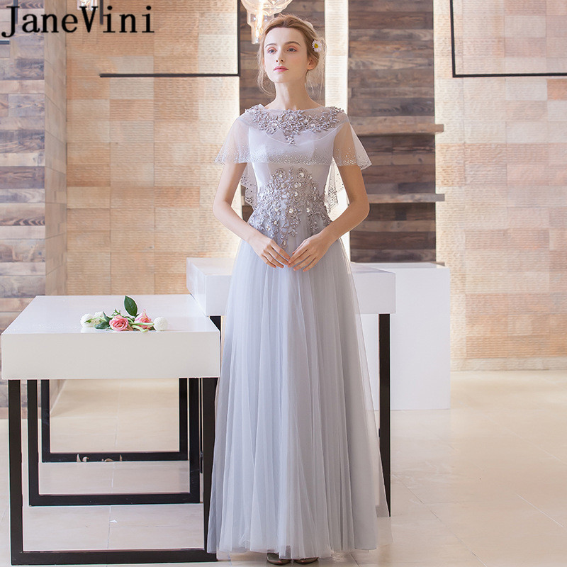 JaneVini 2018 Elegant Light Gray Tulle Long   Bridesmaid     Dresses   Lace Applique Beaded Crystal A Line Women Prom   Dress   Floor Length