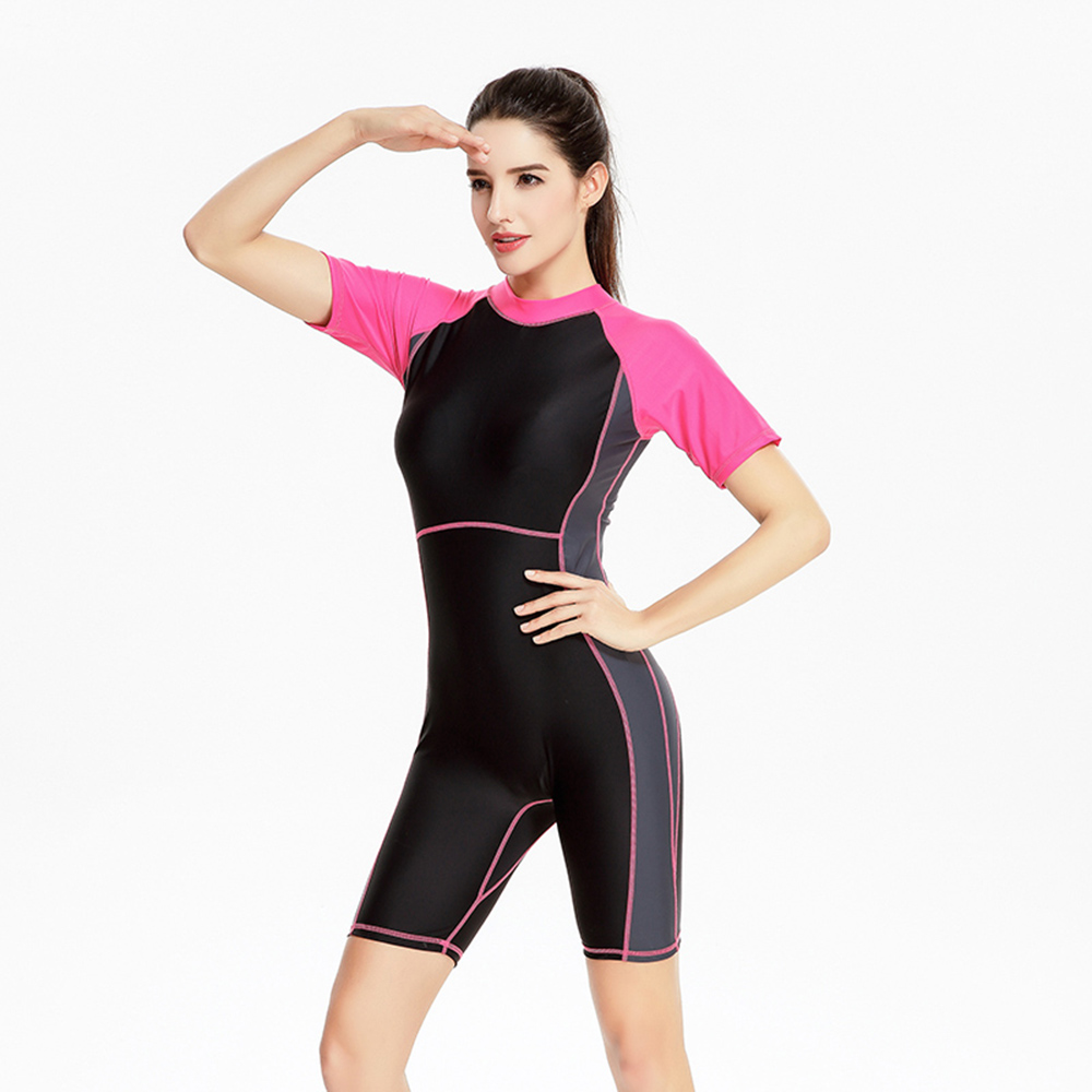 One Piece Swimsuit With Zipper Back Competitive One Piece Swimwear Women Knee Length Bathing Suit Short Sleeves Sports Swim Suit