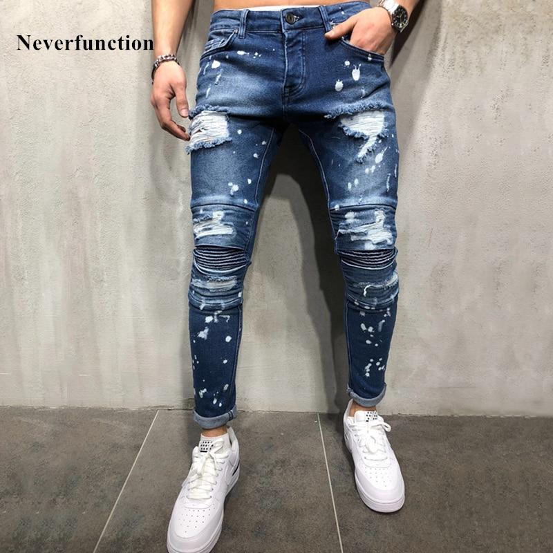 Men Hip hop Ripped Splashing ink Skinny biker   Jeans   knee Pleated Distressed motorcycle streetwear Men Joggers Denim trousers