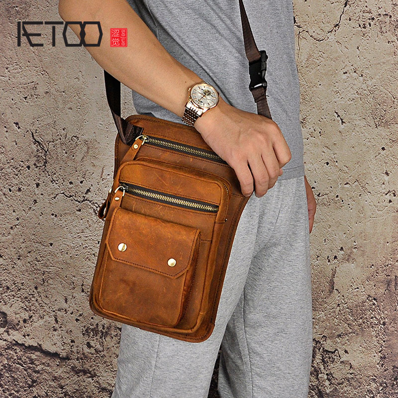 AETOO First layer of mad horse leather leather retro men tide cool phone camera vintage brown leg bag purse