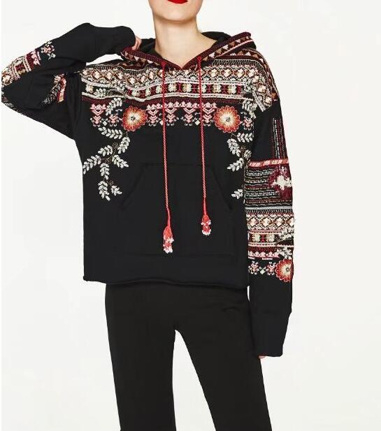 2017 Woman Casual Fashion Black Floral EMBROIDERED hooded SWEATSHIRT With  Cords Pompoms Belt Long Sleeves with Sequined Pullover b0608f8c7e2b