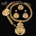 11.11 Moda Grandes Perlas Africanas Joyería Conjunto Exquisito Tallado Dubai Chapado En Oro de Joyería Set Nuevo Nigeriano Boda Nupcial Bijoux
