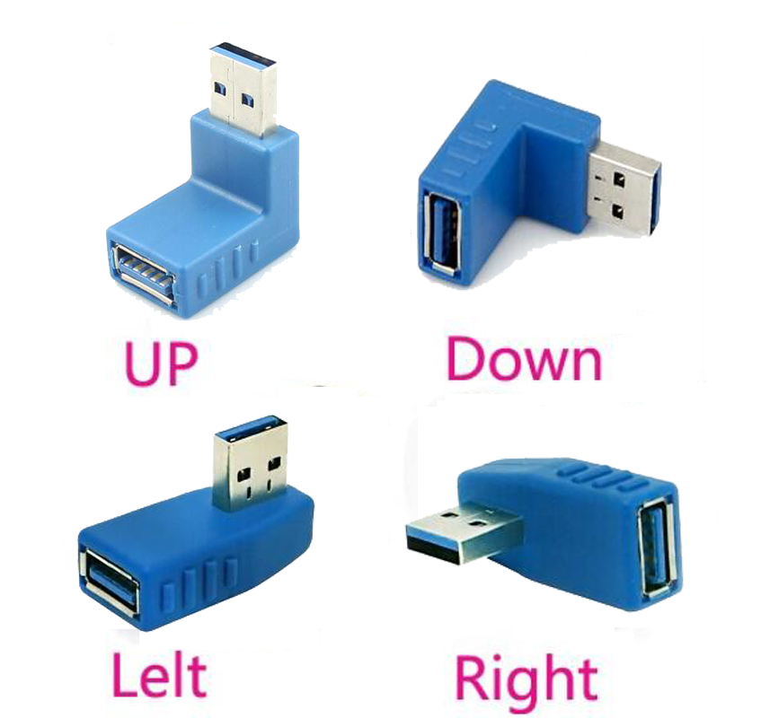 где купить 4PCS 90 Degree Right Angle USB 3.0 A Male to Female Connector Redirectional Adapter left + right + up + down по лучшей цене