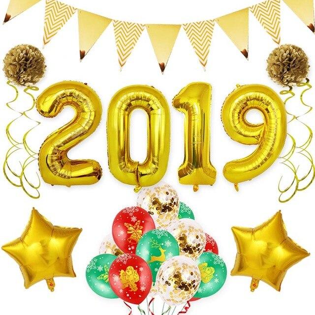 46/28 stücke Frohes Neues Jahr 2019 Helium Brief Anzahl Folien Ballons Eve Party Decor Feier Party Brithday Dekoration Liefert