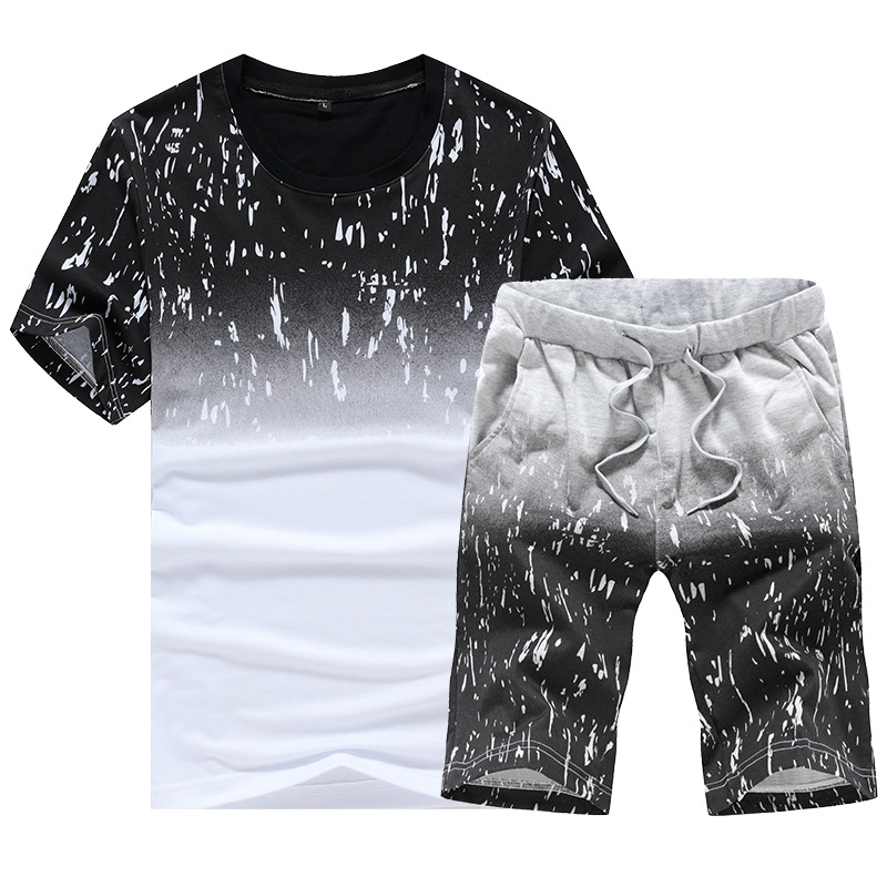 Nisexper Men Casual T Shirt Sets Fashion Mens Summer Beach Short Sleeve Comfortable Tracksuits T Shirts Mens Set