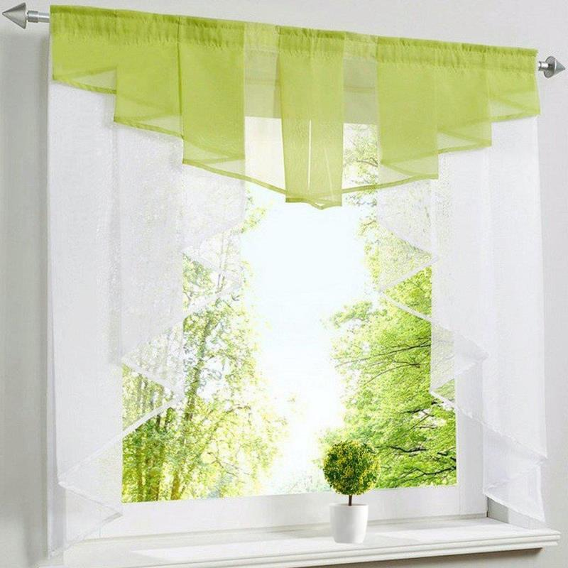 Kitchen Cafe Curtains Modern: Modern Short Tulle Valance Solid Color Roman Curtain For