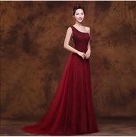 Robe de demoiselles d honneur pour mariage2017 new Tulle sequins One Shoulde A line burgundy bridesmaid dresses long cheap