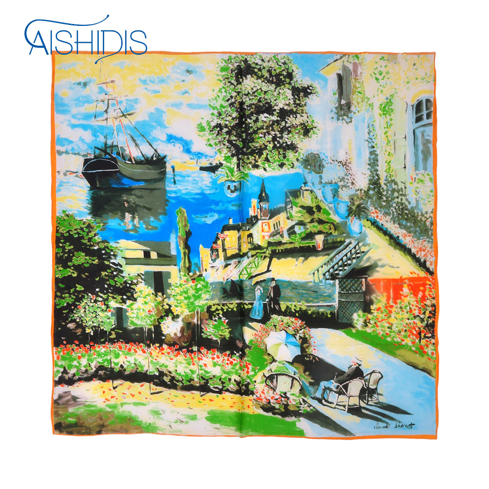 Aishidis Brand Fashion Women Large Square Scarf Ladies Floural Headband Scarves Wraps Claude Monet's Painting Collection