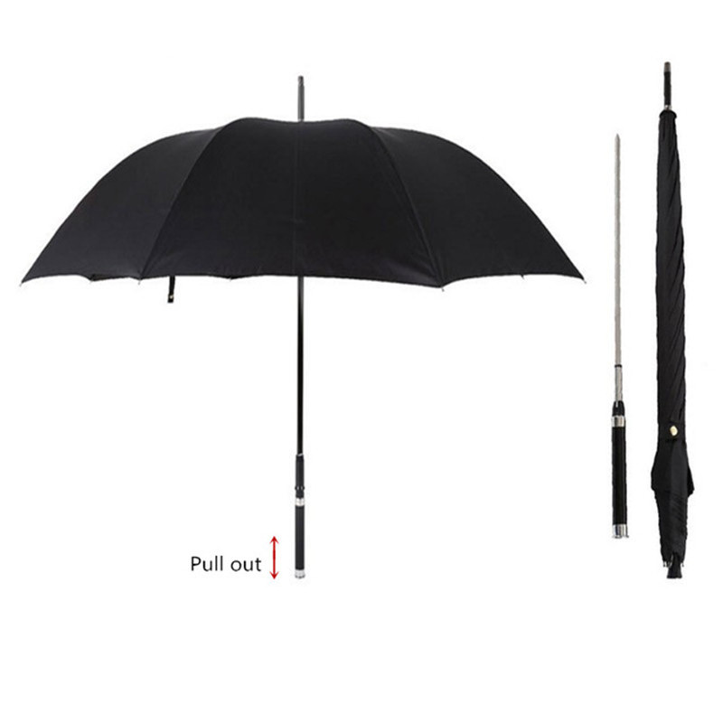 DLYLDQH Brand Fashion Long Handle Man Automatic Umbrella Windproof Business Sword Warrior Self defense Sunny Creative