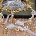 Золото проба пера свадебные повязки свадебный головной убор кристалл перо свадебный волосы ювелирные украшения смарт-сладкий оптовая