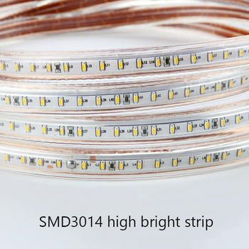 220v led strip light smd 3014 waterproof IP67 warm white blue outdoor tape rope with power plug Dimmable 120Leds/M Flexible Lamp