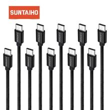 [10 Pack] Suntaiho ניילון סוג C 3.1 נתונים כבל סינכרון לסמסונג גלקסי S8 USB סוג  C טעינה מהירה עבור Oneplus 5 XiaoMi mi6 mi5