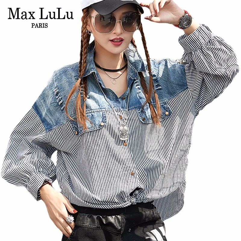 Max LuLu 2018 Japan Famous Brand Designer Girls Chiffon Blouse Womens Denim Striped Shirts Cotton Tops Woman Clothes Plus Size