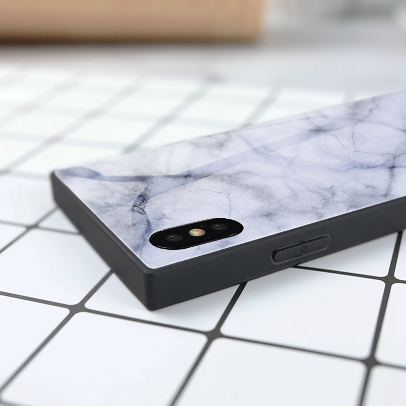 TOMKAS Black Luxury Marble Phone Case for iPhone 6 6s X Xs Glass Back Cover Case for iPhone 7 8 Plus Silicone Square Shockproof  (21)