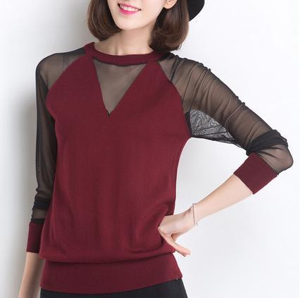 suéter de cuello redondo de las mujeres ocasionales sexy organza de encaje bord